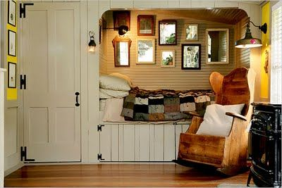 Love the bed nook and rustic panelling!