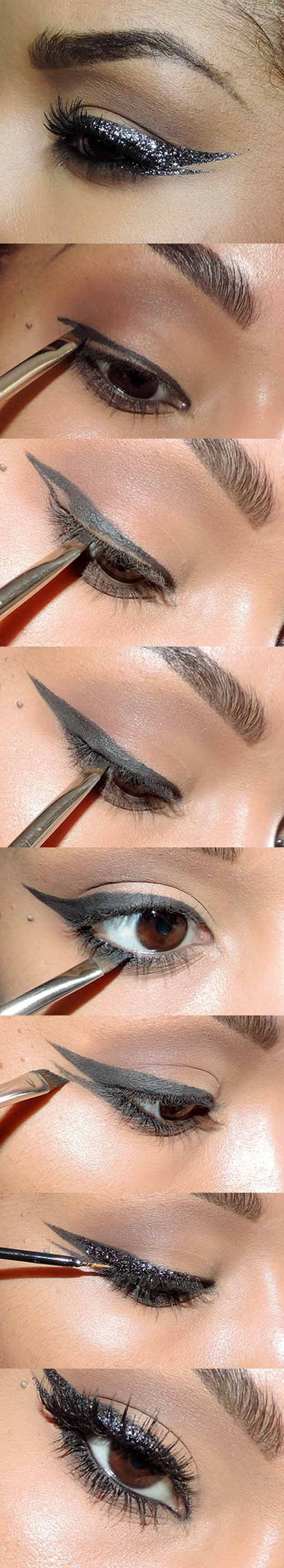 35 Glitter Eye Makeup Tutorials - Get the Look: New Year's Eve Glitter Cat Eye Tutorial - Step By Step DIY Glitter Eye Make Up Tutorials that WIll Make Yours Eyes Sparkle - Silver and Gold Linda Hallberg Looks, Awesome Eyeshadow Products, Urban Decay and Looks for Your Eyebrows to Make You Look Like a Beauty - https://thegoddess.com/glitter-eye-makeup-tutorials