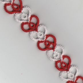 L. Shelby: Tiny Hearts Friendship Bracelet, smooth version (no picots) - free pattern #tatting #heart #jewelry                                                                                                                                                      More