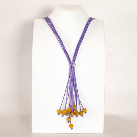 Yellow onyx long lariat necklace Statement necklace by Cardoucci