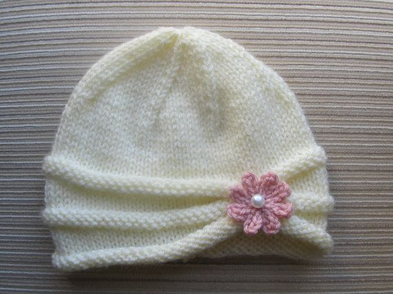 Knitting Pattern Girls Hat with Rolled Brim and a Flower in