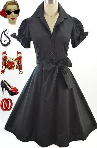 50s Style Black Tie Sleeve Full Skirt Rockabilly Pinup Day Dress w Sash Belt