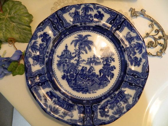 "Antique Flow Blue 10"" Dinner Plate Kyber Adams and Sons"