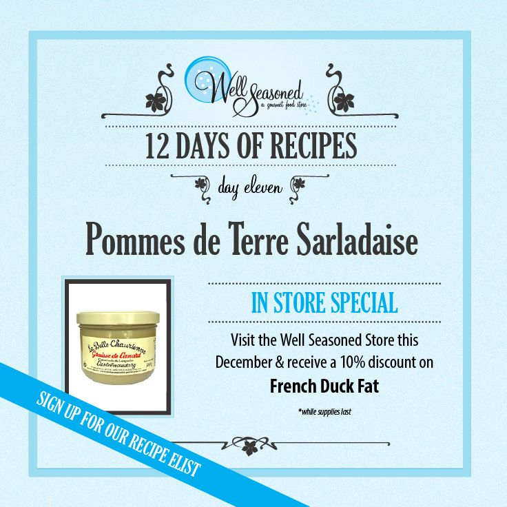 Day 11 of our #ws12days of Recipes went out today: Pommes de Terre Sarladaise ft. French Duck Fat Duck fat is culinary gold – from potatoes to poultry to popcorn. For the chef on your gift list, a jar of Graisse de Canard is the ultimate gift.  Missed the recipe + feature gift idea? Sign up via any of our 12 days of recipes pages! #cookinggifts #frenchcuisine #gourmetgifts #stockingstuffers
