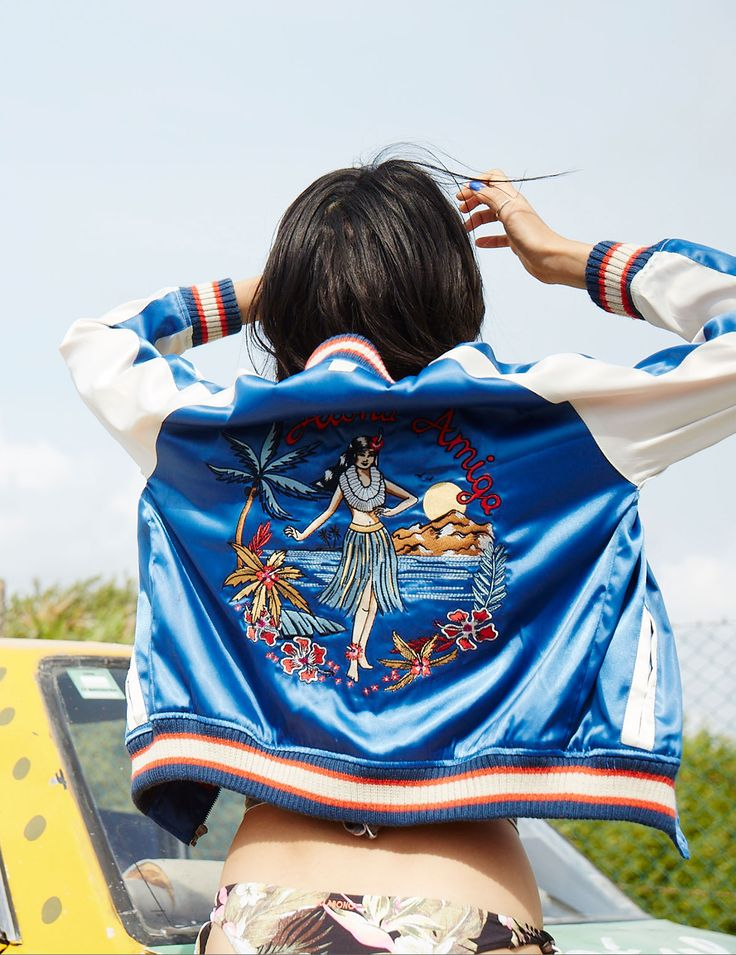 Aloha Amiga satin baseball jacket