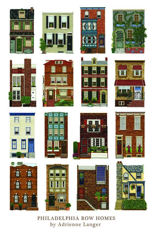 Philadelphia Row Houses   Philadelphia Row Homes Poster