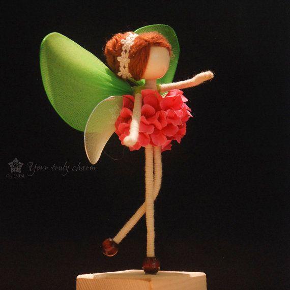 Rosa pétalo verde hada muñeca en miniatura, sin cara, muñeca colorida flor, Angel ornamento,