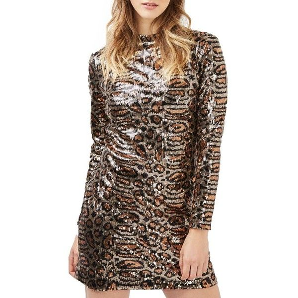Women's Topshop Animal Print Sequin Body-Con Dress ($110) ❤ liked on Polyvore featuring dresses, brown multi, bodycon cocktail dress, animal print dress, sequin dresses, topshop dresses and sequin embellished dress