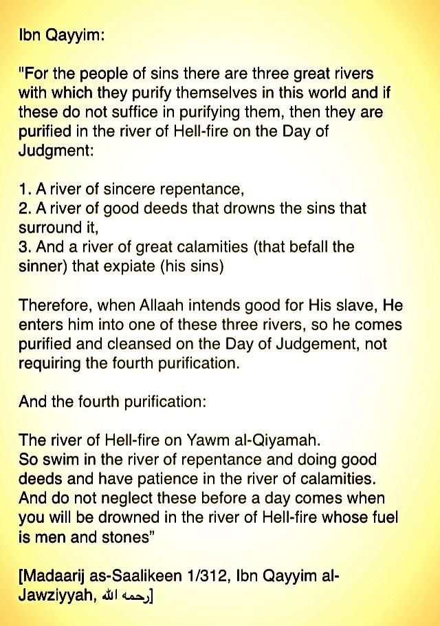 "• ""For the people of sins there are three great rivers with which they purify themselves in this world..."