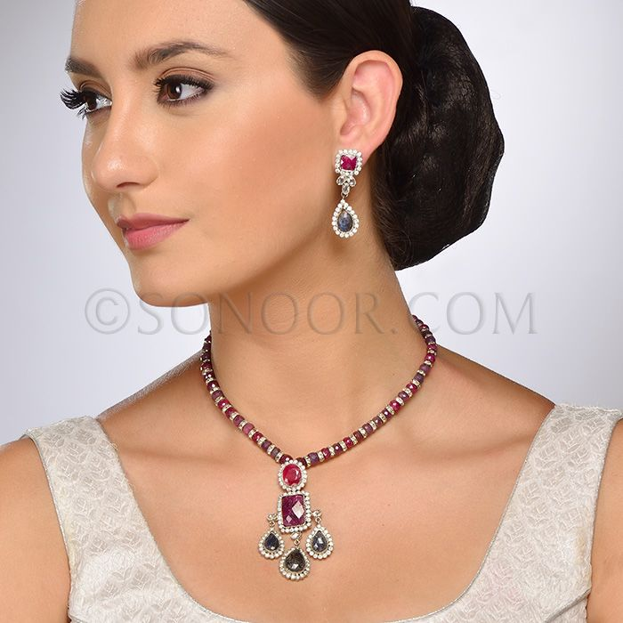 PEN/1/3701 Lekha Pendant Set with Earrings in silver victorian finish studded with ruby, saphire, and cubic zircons stringing in ruby beads