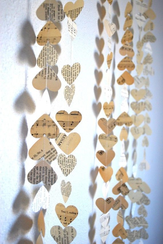 book page hearts garland