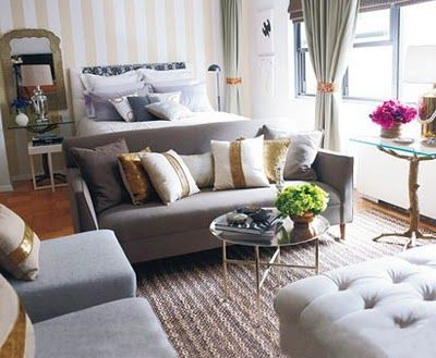 Small Studio Apartment With Gray Sofa