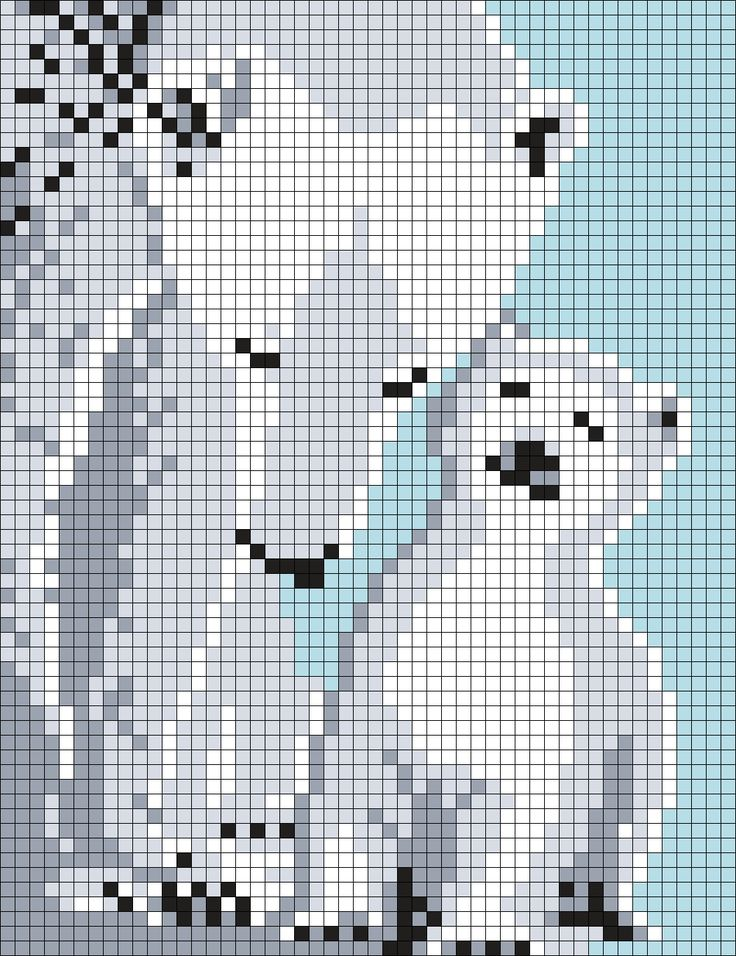 Mom and Baby Polar Bears (50 X 65 Square Grid Pattern)