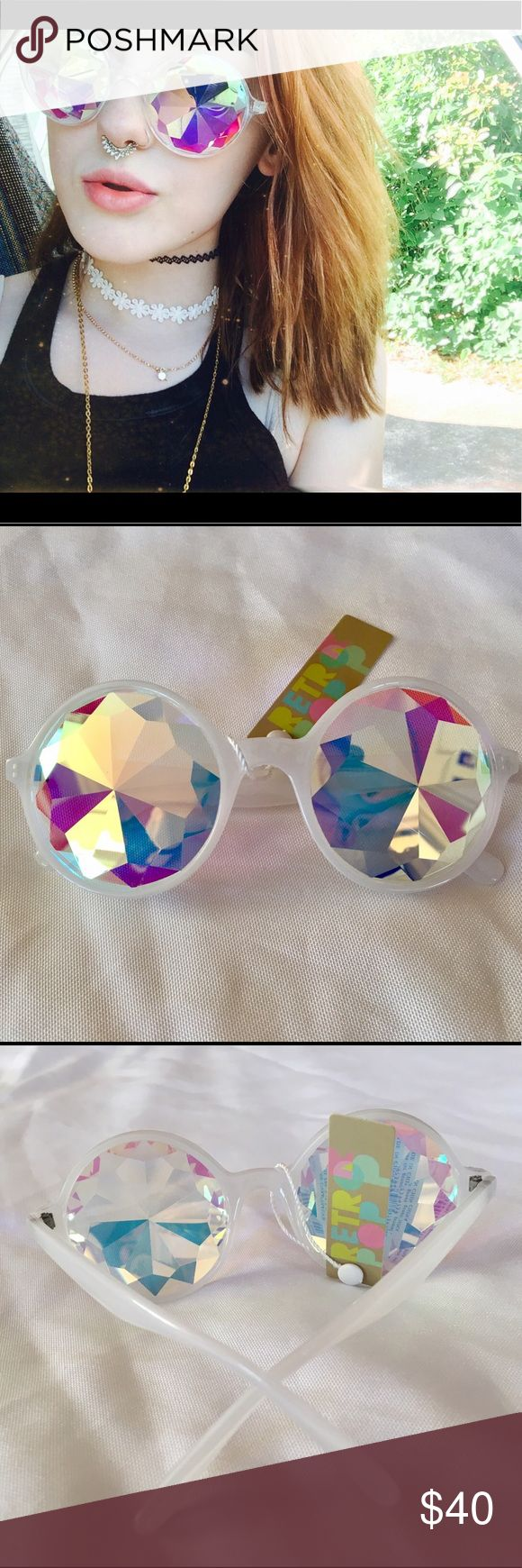 Kaleidoscope Festival Sunglasses White Rainbow These is a pair of super trippy hippie kaleidoscope sunglasses, perfect for raves, music festivals, or just for some cool pics! 100% UVA/UVB protection. Do not wear while driving or operating machinery. Accessories Sunglasses