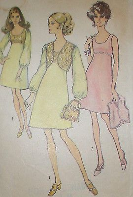 Vintage 1960s Simplicity 8546 Empire Waisted Dress & Vest Pattern 36B sz 16 Unct