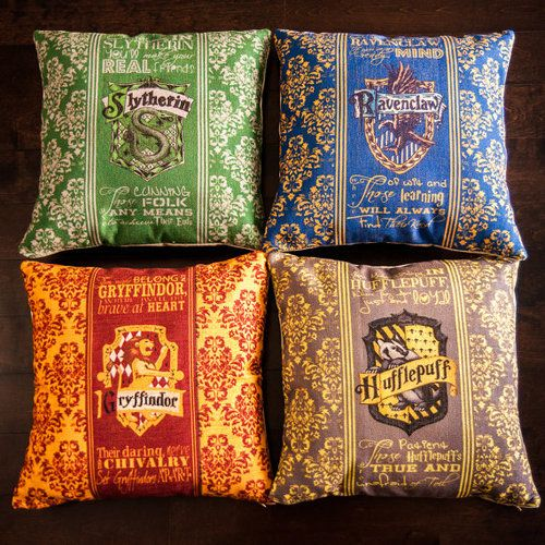 Harry Potter - Hogwarts house throw pillows for geek bedrooms. Get me all pillows plz!