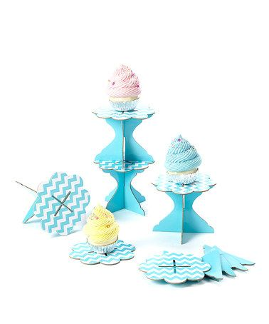 Another great find on #zulily! Turquoise Zigzag Cupcake Stand - Set of Six #zulilyfinds