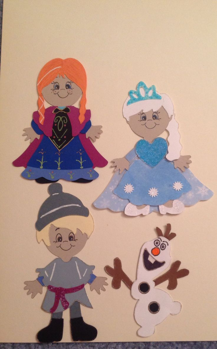 Frozen characters.....everyday paper dolls and paper doll dress up...cricut cartridge.  olaf - hand made