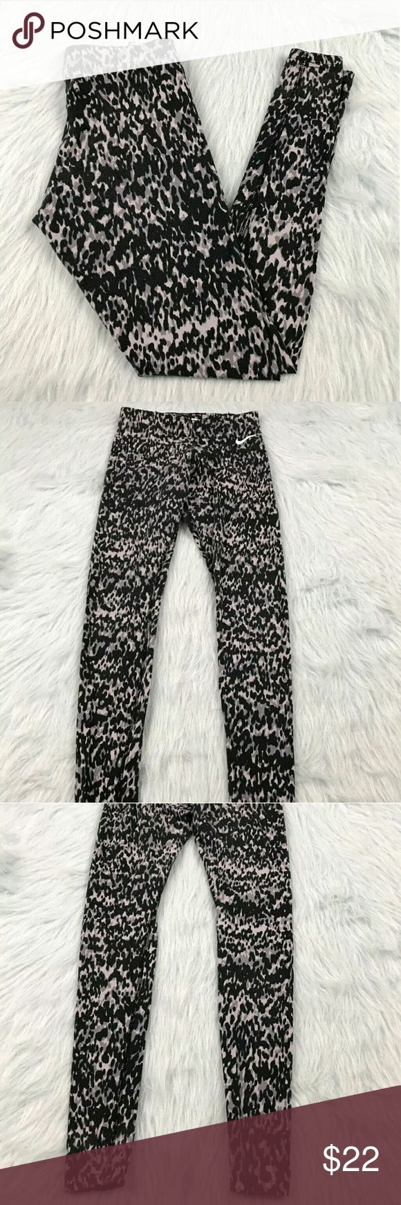 "Nike Leopard Print Leggings Nike black gray leopard print leggings. Womens size XS. Gently used, without flaws. See pictures for details.  Waist laying flat - 12"" Rise - 9"" Inseam - 27""   Inventory 04292017 Nike Pants Leggings"