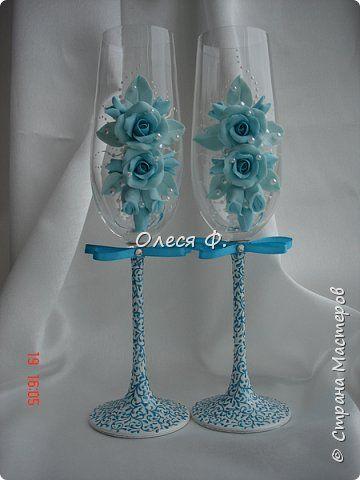 Декор предметов Свадьба Лепка Свадебная бирюза  Пластика фото 10