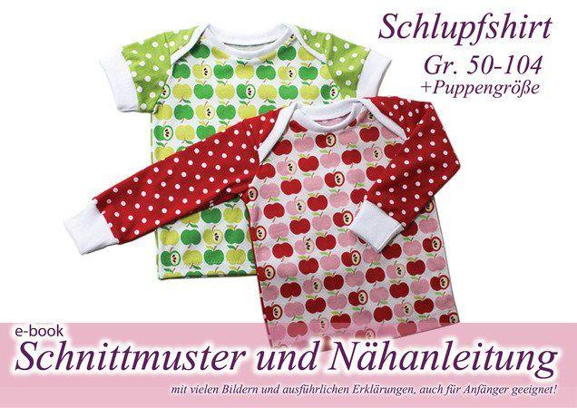 Nähanleitung und Schnitt für ein Baby-Shirt mit praktischem Schlupfkragen. Diese Shirt kommt ohne Knöpfe aus und paßt trotzdem prima übers Köpfchen der Kleinen. Da geht das Anziehen super schnell! Es kann mit langen oder kurzem Arm genäht werden, b