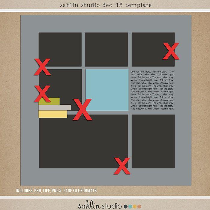 FREE Digital Scrapbooking Template / Sketch – Dec 2015 | Sahlin Studio | Digital Scrapbooking Designs