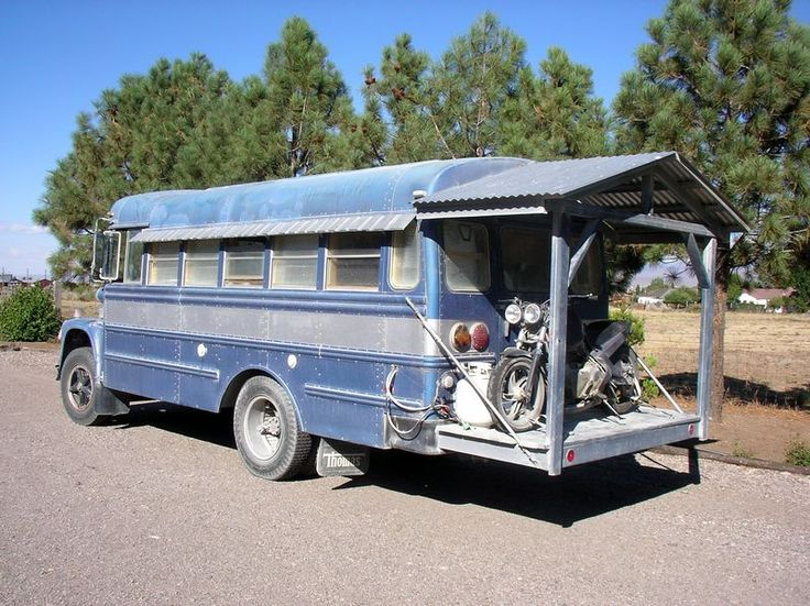"""1975 International Loadstar 1600 - Thompson School Bus Conversion. I think this is perfect for us. Because of the """"back porch"""" it also functions as a toy hauler. Unfortunately, (1) it's already sold, (2) my husband is not so enamored with it."""