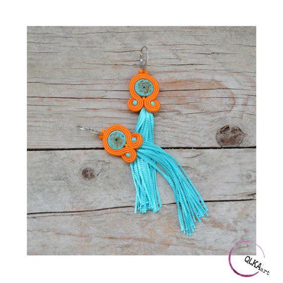 Long tassel earrings  blue turquoise and orange by QlkaArt on Etsy