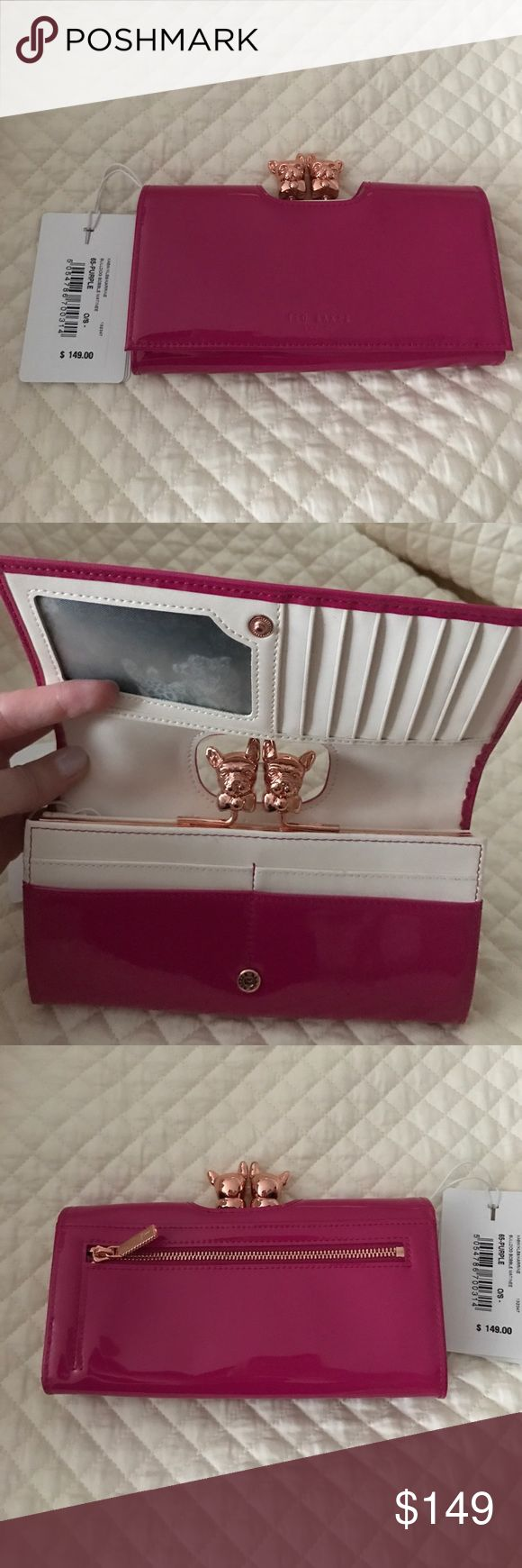 Ted Baker Wallet Brand new Ted Baker fuschia patent wallet. Front closure with 3 large slots. Holds 12 credit cards and French bulldog decorative closure for inside coin purse. Also has back zipper on back. Ted Baker Bags Wallets