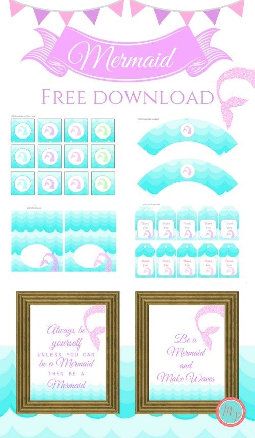 __Free Mermaid Party Printable Instant Download Baby Shower