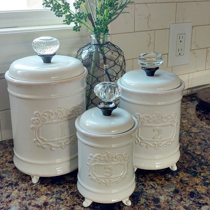 """100 Likes, 6 Comments - Liz (@nicolettes_for_the_home) on Instagram: """"Glam up your kitchen with these gorgeous canisters with crystal knobs! A true favorite around here!…"""""""