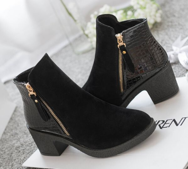 2015 spring autumn women ankle boots pu leather suede Splice black blue high heels boots shoes women ca14