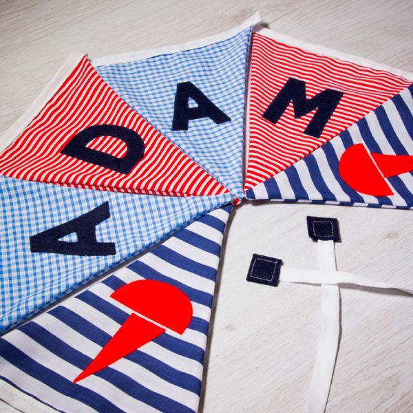 Handmade seaside flag bunting, personalised with any name. Each flag is carefully produced by hand therefore can be made to suit your own ideas. #personalised #bunting #giftguide #instagift #mumsinbusiness #blanket #taggies #unique #gift #babygifts #aprons #towels #instacool #fabric #nurserydecor #nursery #handmade #kidsgifts #giftideas #present #babyshower #christening #birthday #presents