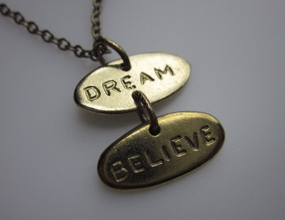 Dream and Believe Charm Necklace by lovespelljewels on Etsy, $6.99