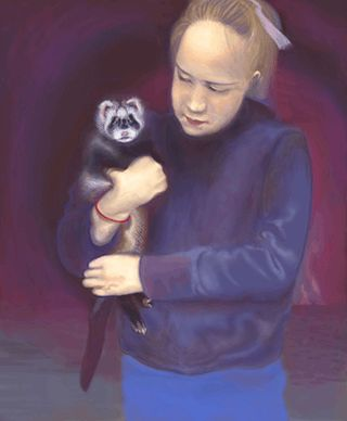 This may not even be my favorite digital portrait but it was a good practice. I like the pole cat  ferret and the way she is holding him. The purple background is harmonious with her jacket shirt. This was one of my first digital portrait drawings where I actually got the face right. So that's the so called significance of this work.