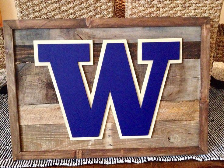 Washington university W logo on reclaimed wood sign. Washington Huskies wall art. Hand made by kate hall. Custom woodworking #CustomWoodworkingLogos
