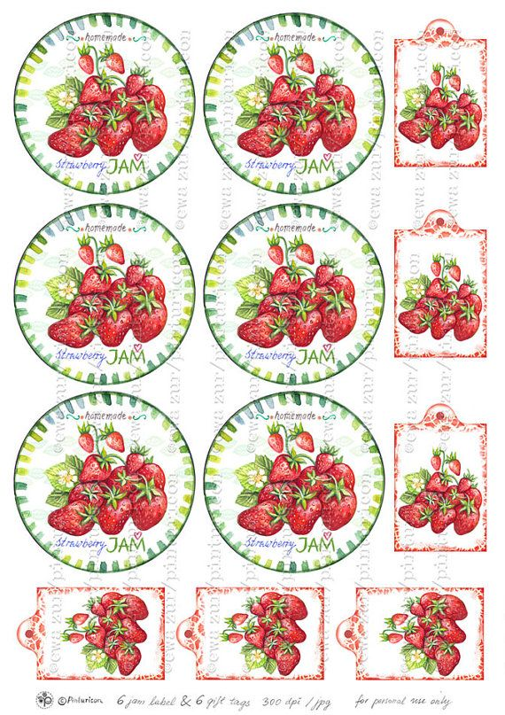 Circle jam label strawberry jam label printable by Pinturicon