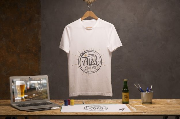 Download Front View White T Shirt With Laptop And Beer White Tshirt Wholesale T Shirts Wholesale Shirts