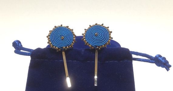 Soutache hair clip with delicate Japanese beads by AGDesignCreatif