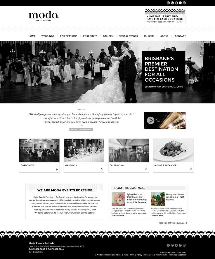 Moda events Responsive website design