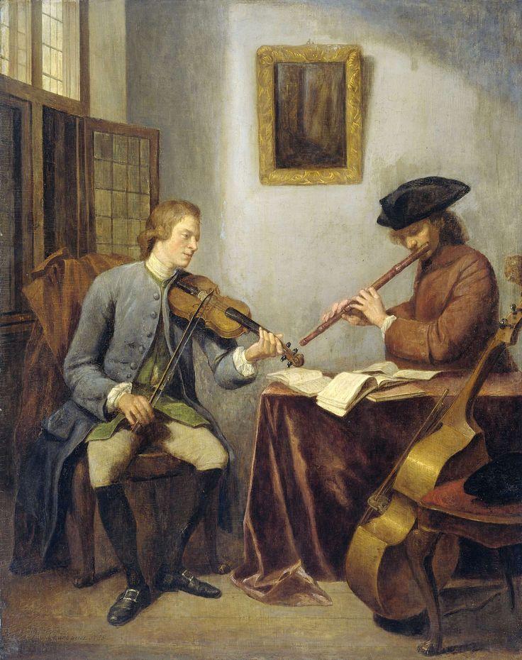 Een violist en een fluitist musicerend, Julius Henricus Quinkhard, 1755 En violinist och en flöjtist musicerar.