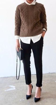 make my lighter weight sweaters more Spring like by adding shirt for contrast                                                                                                                                                                                 More