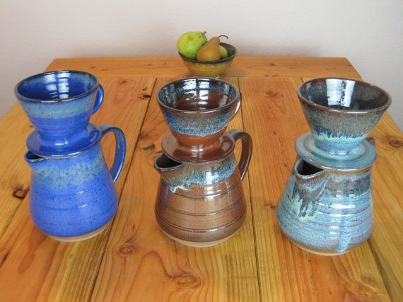 Pottery, coffee pour over, pitcher, coffee dripper, stoneware, coffee cone, coffee brewer, ceramic, handmade, wheel thrown