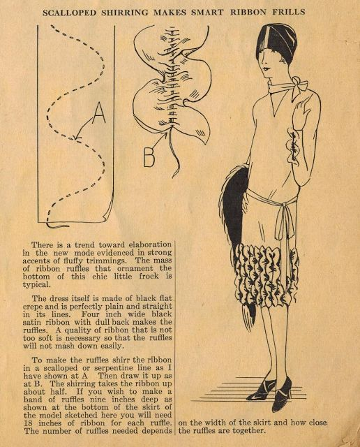 The Midvale Cottage Post: 1920s Home Sewing Tips - Scalloped Shirred Ribbon Frills