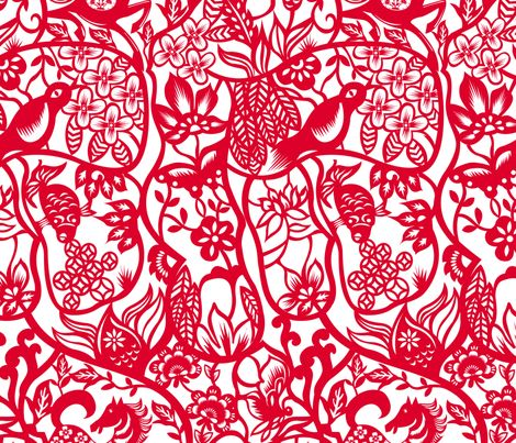 Chinese Paper Cut Pattern Fabric By Agnesschugardt On Spoonflower Cool Chinese Fabric Patterns