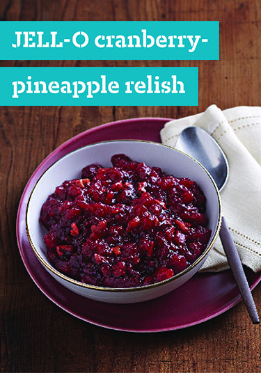 JELL-O Cranberry-Pineapple Relish – Cranberries and crushed pineapple bring the tart-sweet deliciousness to this crowd-pleasing JELL-O relish recipe. Try it as a complement to pork at your next dinner party!