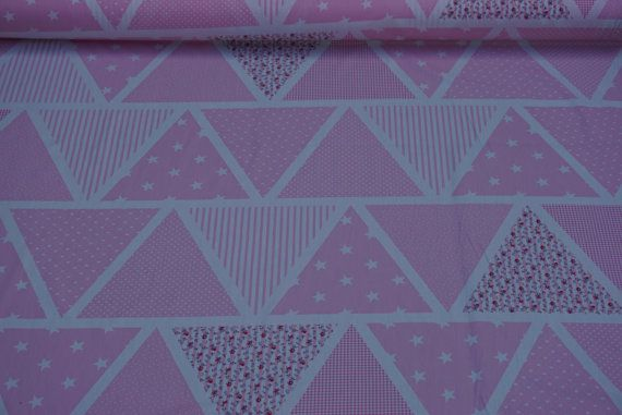 CP0359 Pink Bunting flags print vintage cotton poplin fabric spots/stripes/stars  Rose and Hubble dress cotton Fabric