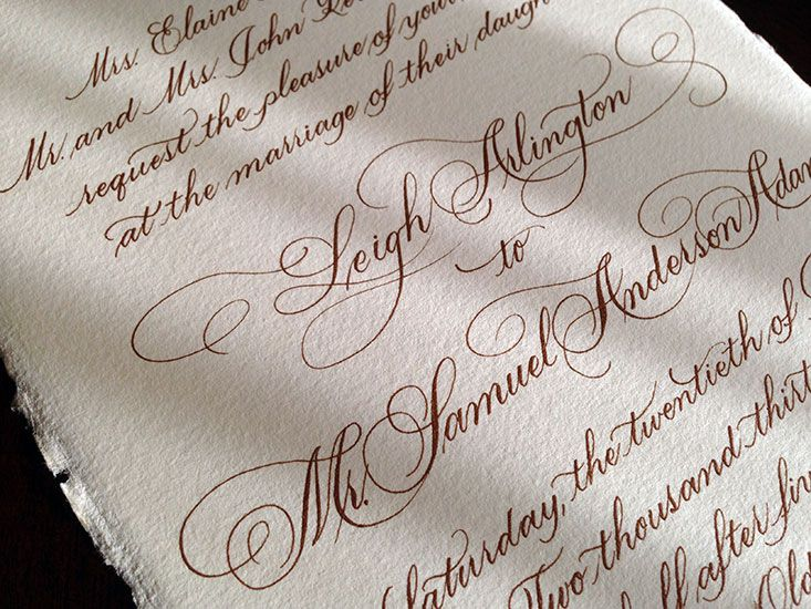 Wedding invitation in a beautiful flourished script