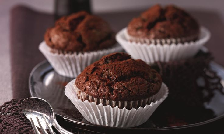 Chocolade-courgette muffins recept   Dr. Oetker