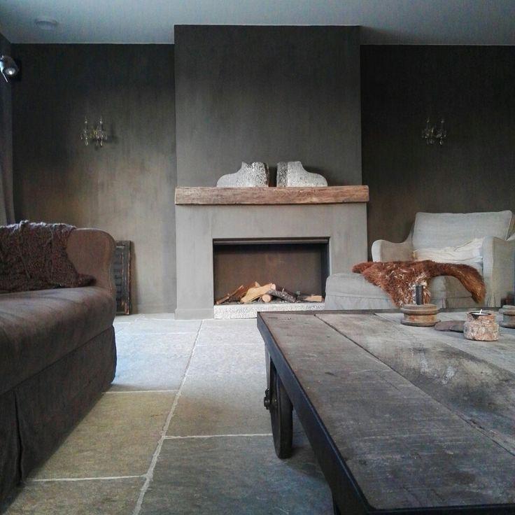 Livingroom fireplace kalkverf www.judith-en-co.blogspot.com